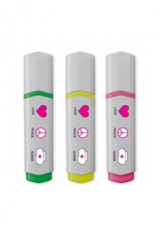 Neon Textmarker 3 Stück Love Peace Nurse