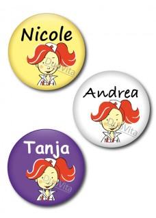 Button Krankenschwester rotes Haar