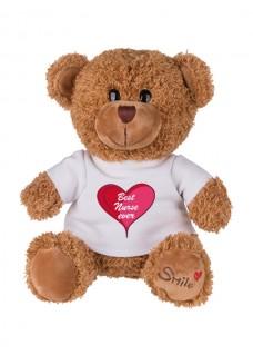 Teddybär Best Nurse Ever mit Namensaufdruck
