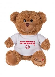 Teddybär Best Nurse In The World mit Namensaufdruck