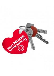 Schlüsselanhänger Herz Best Nurse World mit Namensaufdruck