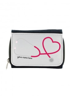 Damen Jeans Geldbörse Stethoskop mit Namensaufdruck