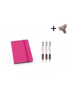 Set Notizbuch A6 + Farbkugelschreiber Rosa