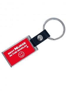 Luxuriöser Schlüsselanhänger Best Nurse World mit Namensaufdruck