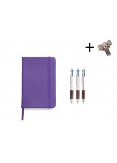 Set Notizbuch A5 + Farbkugelschreiber Lila