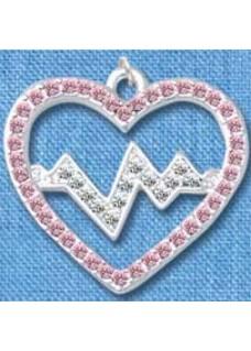Kette Herzschlag Silber-Rosa groß