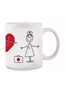 Tasse Stick Nurse Weiß