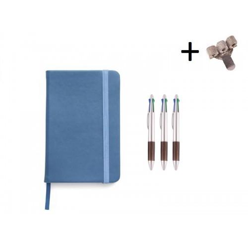 Set Notizbuch A5 + Farbkugelschreiber Blau