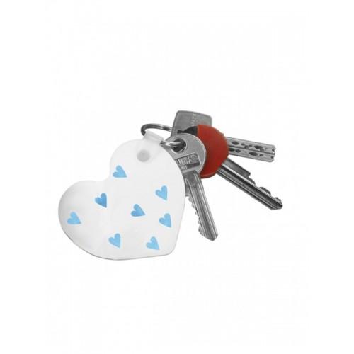 Schlüsselanhänger Blaue Herzen mit Namensaufdruck