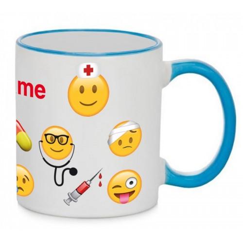 Tasse Emoji Nurse Blau