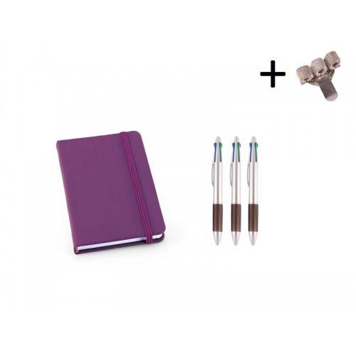 Set Notizbuch A6 + Farbkugelschreiber Lila