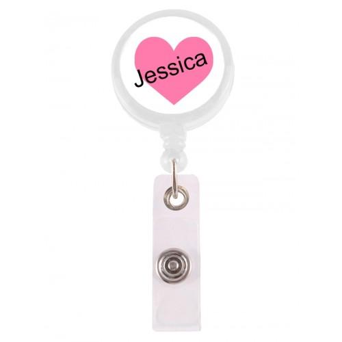Ausweis-Jojo Rosa Herz mit Namensaufdruck